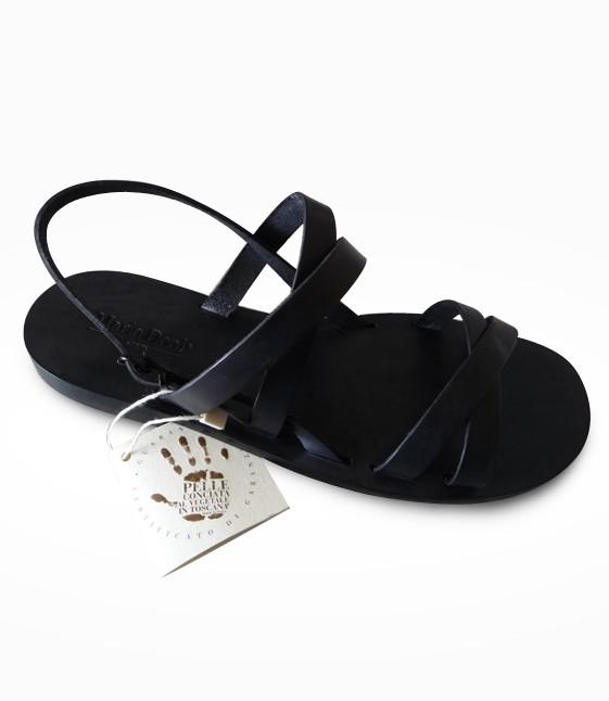 Sandale Etruria Frau in flexible Leder realisiert für Alessandra