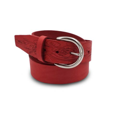 Leather belt Mod. Fiore height 4 cm