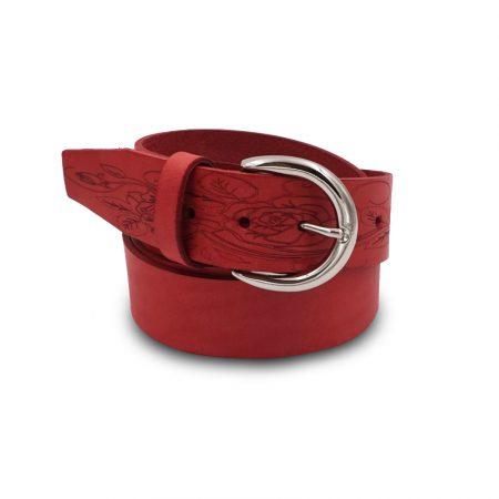 Cintura cuoio Mod. Fiore altezza 4 cm